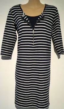 MAMALICIOUS MATERNITY & NURSING NAVY STRIPE TUNIC ZIP DRESS SIZE L 14